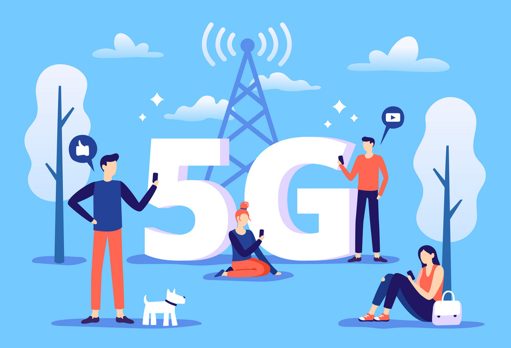 Mobile 5g connection. People with smartphones use high speed internet, fifth generation network and coverage zone. Smartphone telecommunication wave, phone wireless data connecting vector illustration